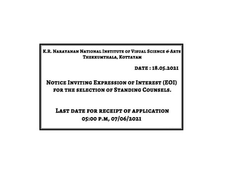 Notice Inviting Expression of Interest (EOI) for the selection of Standing Counsels