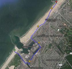 14 route van Den Haag Zuiderstrand rond de haven van Scheveningen
