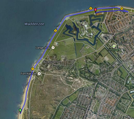 71 route in Den Helder naar finish