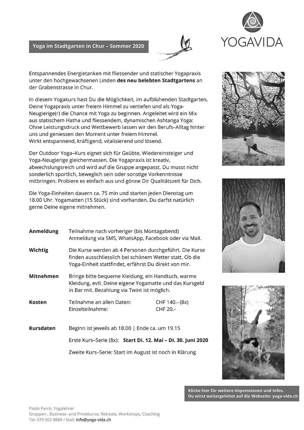 Yoga im Stadtgarten in Chur - ab 12.5. - geht in die nächste Runde. Dein Yogakurs in Chur - in der Natur von Yogavida