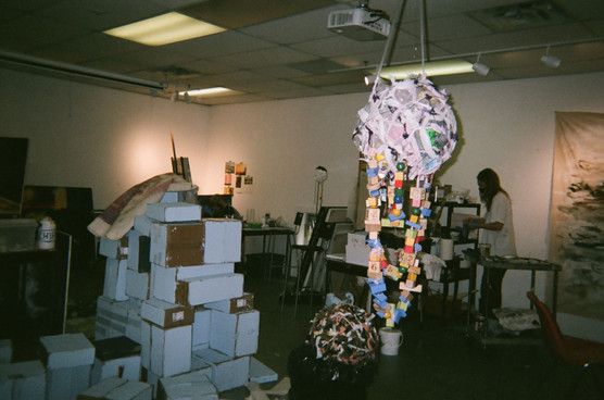 Kia's sculpture and boxes ft. Karolina and Adam in the background