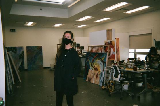 Amy critiquing work