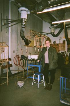 Jessica in the sculpture studio