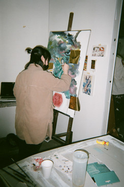 Theresa working away on her painting