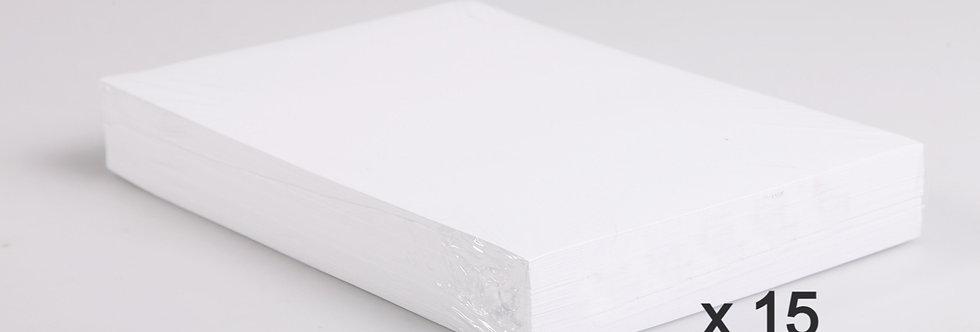 Ramettes de papier A4 Blanc - 3 Cartons de 5