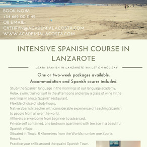 INTENSIVE RESIDENTIAL SPANISH COURSE IN LANZAROTE