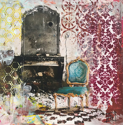 Blue Chair (Montluel 20x20), encadré
