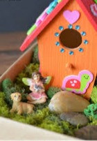 A sweet fairy and her dog share a lovely morning beside their home
