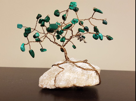 Aventurine on antique copper wire