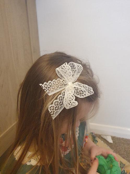 Pre-Made Lace Clip Bow