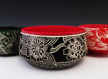 Handcarved Ceramic Pots