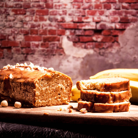Recipe for the banana nut bread with salted caramel sauce