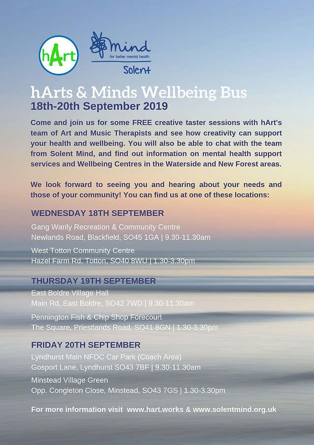 Art Therapy. Art in the community. hArts Minds Wellbeing Bus.