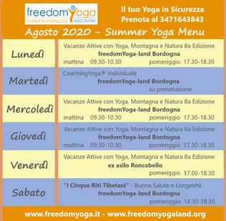 Agosto 2020 - Summer Yoga Menu