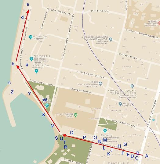 ウラジオストク 街歩きルート①マップ