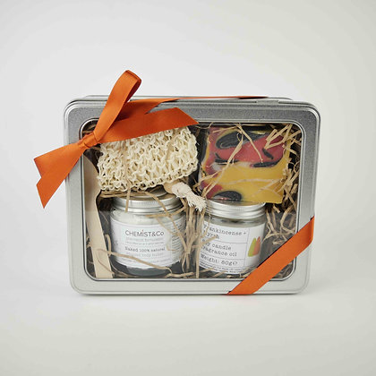 Gift Set 1. Body Butter + Soy Candle + Soap + Soap Bag