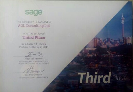 Third Place - AGL Consulting Limited, Sage X3 People Partner of the Year 2016, Africa & Middle E