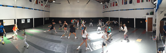 A panoramic photo of Golden Gate Fencing Center during a training session