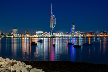 Portsmouth and Boats on the River at Night