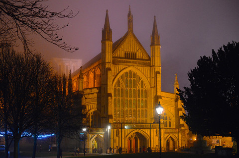 Winchester Cathedral, Night Fog