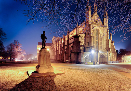 Winchester Cathedral & War Memeorial, Night Frost