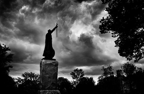 King Alfred Statue, Storm Clouds