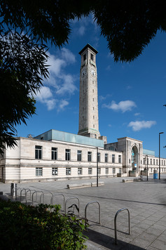 Southampton Maritime Museum and Civic Centre Clock Tower through trees