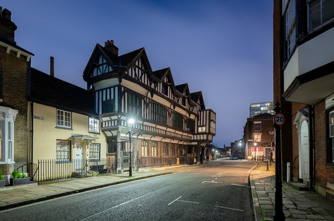 Tudor House Museum, Bugle Street, Southampton, at night