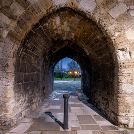 The West Gate Arch, Southampton at night