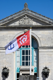 Flag in front of the Civic Centre, Southampton