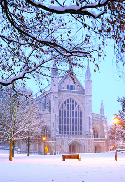 West End of Winchester Cathedral and Snow