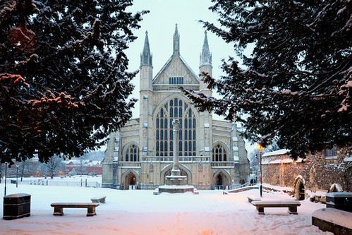 Winchester Cathedral & War Memorial under Snow