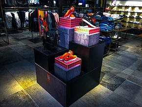 merchandise insde the store with shoe display