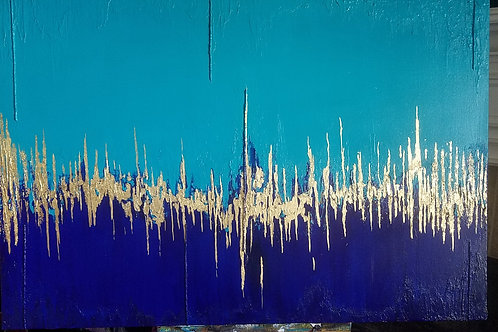 Turquoise Ultramarine Golden Abstract Painting