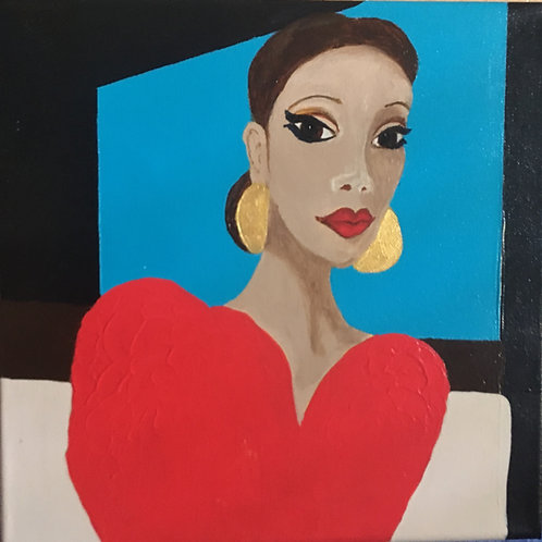 Woman in Red Abstract