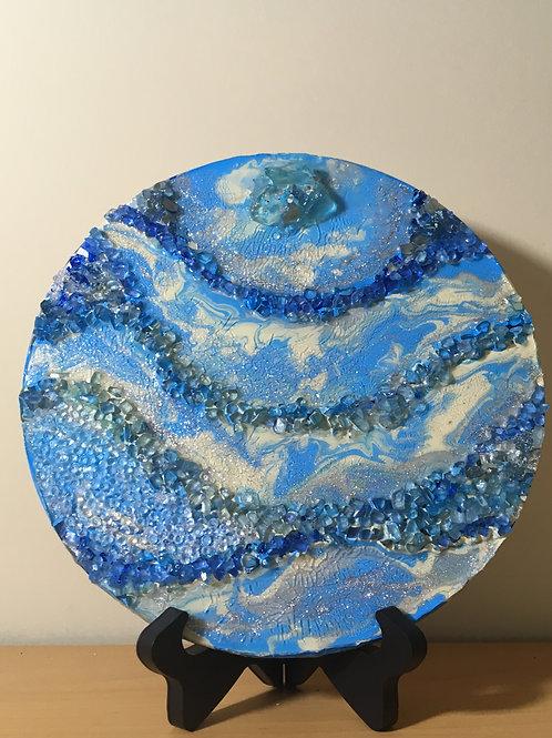 Blue Wood Panel Geode