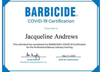 Barbicide Covid19 Certification