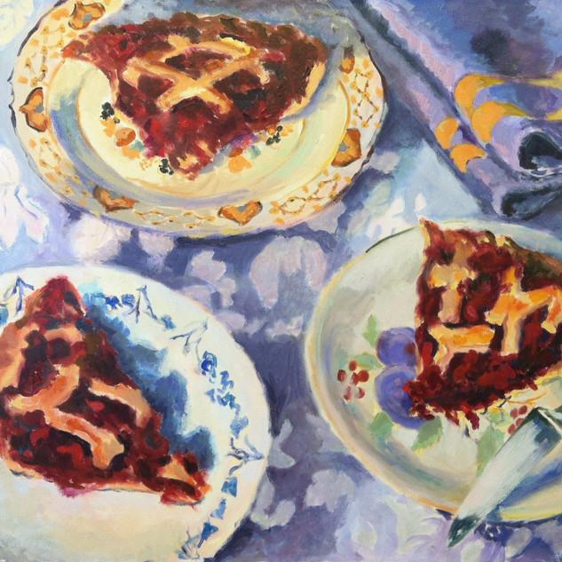 three plates, cherry pie