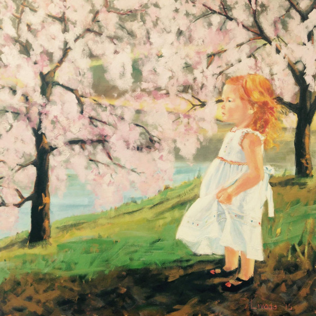 girl among the cherry blossoms