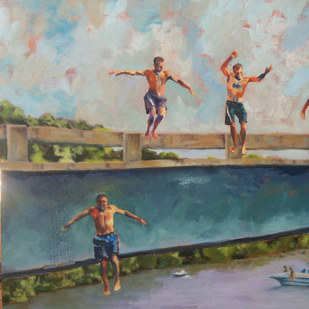 brothers jumping from bridge