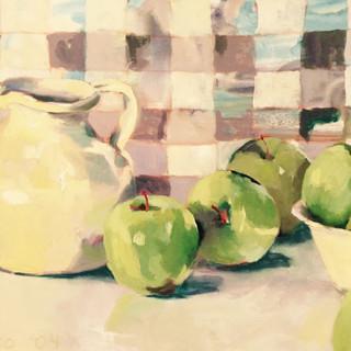 green apples and checks