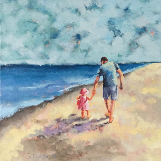 beach with grandfather and toddler