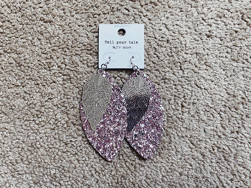 Layered Glitter Feather Earrings - Pink/Silver