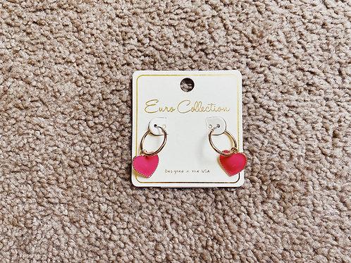 Gold Hoop/Fuschia Heart Earrings