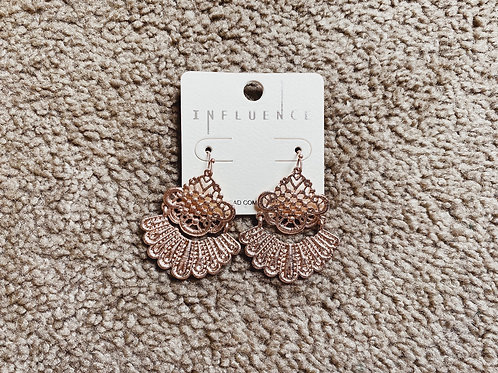Metal Lace Earrings - Rose Gold