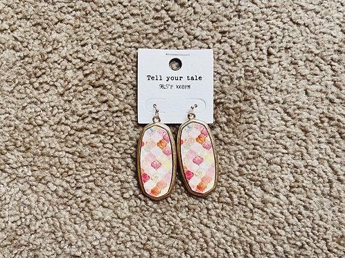 Printed Pendant Earrings - Pink Multi