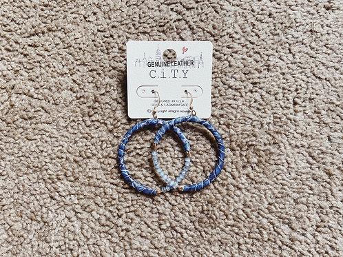 Leather Beaded Hoop Earrings - Blue
