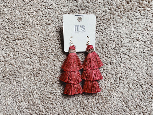 Layered Tassel Earrings - Fuschia (not red)