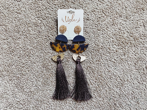 Tassel Earrings - Black/Gold