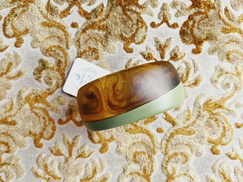 Acrylic Bangle - Green/Wood